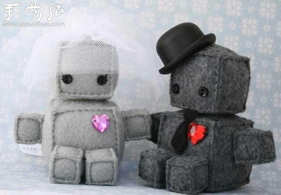 简单的羊毛毡DIY机器人挂饰的方法 -  www.shouyihuo.com
