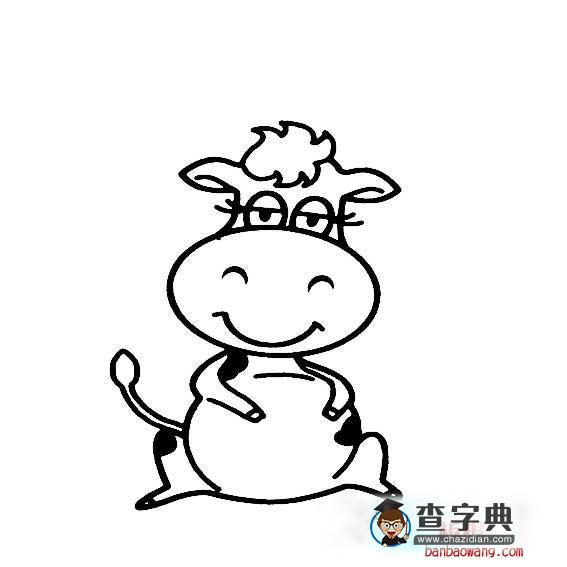 漂亮的卡通奶牛画法