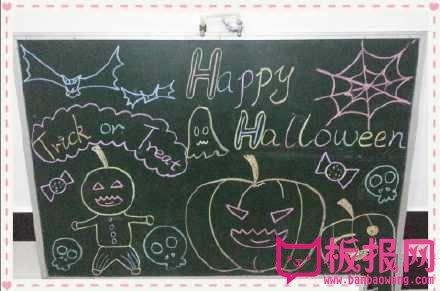幼儿园万圣节黑板报版面设计图,欢乐万圣节