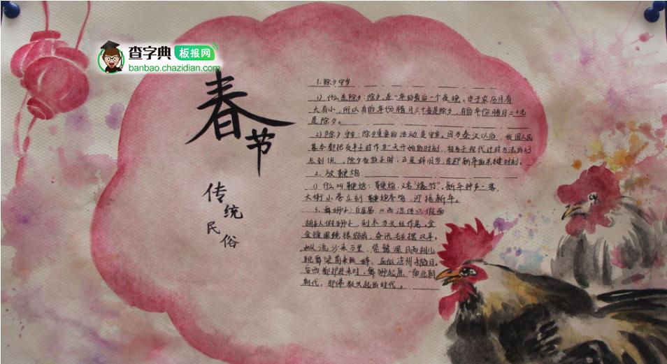 春节传统民俗手抄报