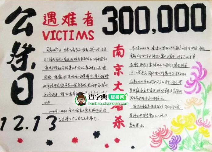 国家公祭日手抄报,勿忘南京大屠杀
