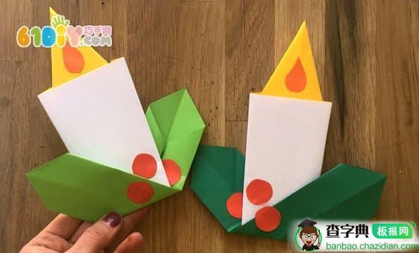 圣诞节蜡烛折纸