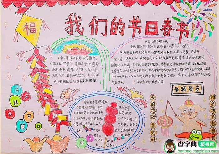 我们的节日春节手抄报图片,福猪贺岁