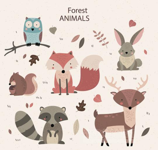 可爱的小动物插图