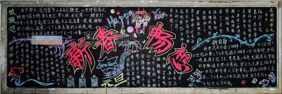春节黑板报-迎新年