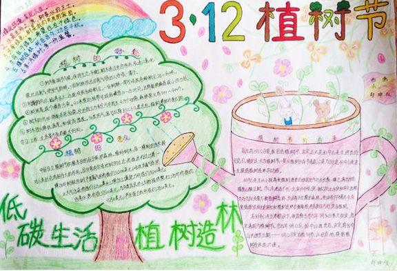 低碳生活-植树节手抄报